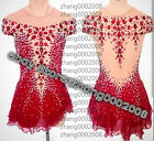 Ice skating dress.Red Competition Figure Skating Dress.Boton Twirling Costume