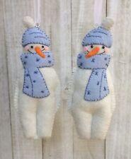 Christmas Ornament Felt Embroidery Kit, Warm + Toasty Dusty Blue Holiday Snowman