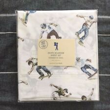 Pottery barn kids skate boarder sheet set Twin blue green sports