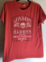 Jason Aldean Live And Tell Red Genuine Southern Rebel Tshirt Large