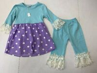 Boutique Girls Size 4 Blue & Purple Polka Dot Outfit Lace Spring 3/4 Sleeve