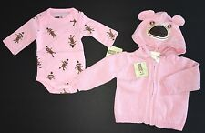 NWT Gymboree Crazy 8 Up to 7 lbs Pink Sock Monkey Hoodie Sweater & Bodysuit