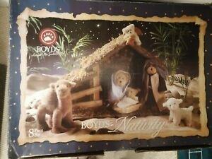 Boyds Bears Plush Christmas Nativity Set w/Box 8 pieces