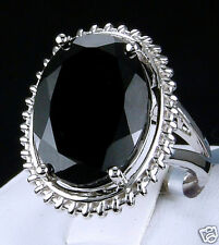 16.00ct Genuine Black Spinel Solitaire 925 Solid Sterling Silver Ring, Size 7