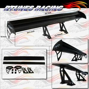 "Rtunes 55"" Type S Universal Aluminum GT Double Deck Spoiler Wing BLACK Chevy"
