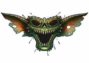 """""""Horror"""" Temporary Tattoo, Evil Zombie Gremlin Skull, Halloween"""