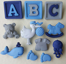 NEW ARRIVAL BOY - Baby Rattle Teddy Blue Whale Stork Dress It Up Craft Buttons
