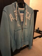 Abercrombie & Fitch Small Distressed Baby Blue Mens Hoody Hoodie