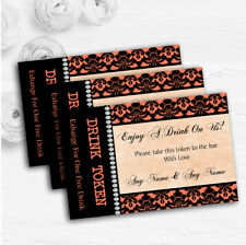 Coral Black Damask & Diamond Personalised Wedding Bar Free Drink Tokens