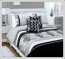 280TC Black White Grey Tiger Skin Embro. Pintuck 3pc KING QUILT DOONA COVER SET