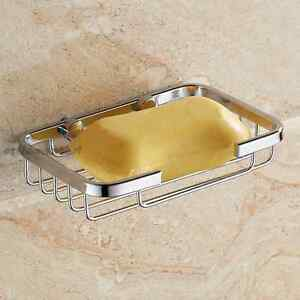 Polished Soap Dish Basket Bathroom Solid Stainless Steel Soap Holder Wall Mount