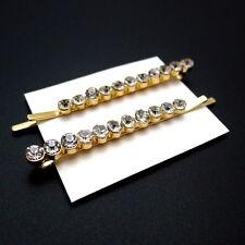 "Set of 2 Gold 2-3/8"" Rhinestone Crystal Jeweled Hair Clips Bobby Pins Slides"