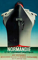 """Vintage Illustrated Ship Travel Poster CANVAS PRINT 24""""X18"""" Normandie France"""