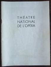 """Theatre National De L'Opera Program for """"Les Indes Galantes"""" 1956/57"""