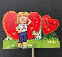 Vtg 1950s Cast My Lot Valentines Card Ephemera Greeting Parcel of Land Fold Out
