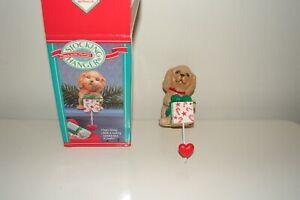 Vintage Hallmark Puppy with Package Stocking Hanger in Original Box