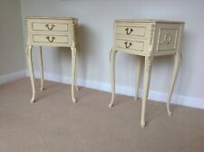 More details for gorgeous pair of louis xvi style vintage cream bedside cabinets