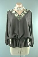 Joie Silk Brown Blouse M Bohemian Embroidered Tunic Top Floral belted dolman 227