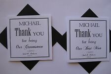 Personalised Best Man, Groomsman, Thank You Card with envelope - Black & White