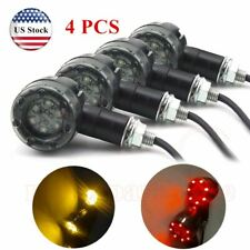 4x Amber Motorcycle LED Turn Signals Lights Brake Running Tail Light Bullet 12V