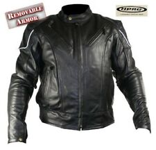 """BLACK ARMORED VENTED COWHIDE LEATHER MOTORCYCLE JACKET M FITS TO 40"""" CHEST $229"""