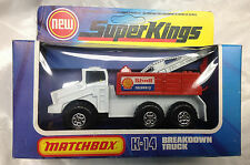 SUPER KINGS MATCHBOX K-14 DIE CAST SHELL RECOVERY TRUCK ENGLAND Blue Yellow box