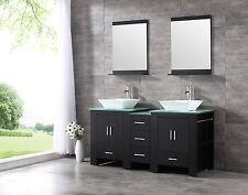 "60"" Modern Bathroom Wood Vanity Cabinet Double Ceramic Sink w/Mirror Black New"