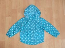 Girls BHS pack-away mesh lined hooded jacket in teal polka dot, size 3 yrs