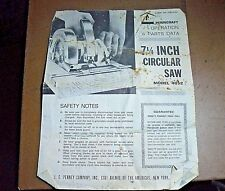 Vintage Penncraft Circular Saw Operation & Parts Data Manual 4052 Used Condition