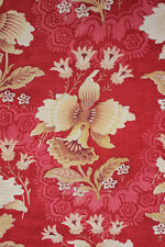 Antique French red ground fabric  Orchid design c1890 printed cotton bed curtain