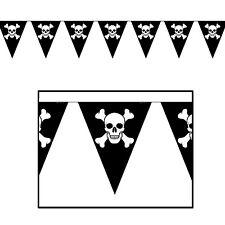 Guirlande 8 Fanions Pavillon Noir PIRATE Tete de Mort Décoration Salle Halloween