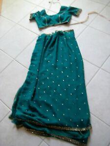 Exquisite Embellished Royal Green Silk/Chiffon Saree/Sari w/Blouse