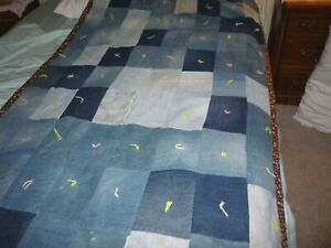 Denim Patchwork  Quilt 42 x 70 Country Style    Twin size