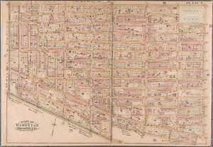 1909 FORT GREENE, CLINTON HILL BROOKLYN, NEW YORK, TOMPKINS PARK COPY ATLAS MAP