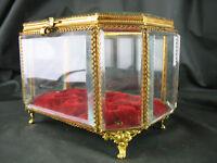 Ancienne boîte à bijoux Verre biseauté et laiton doré XIX° Coffret Napoléon III
