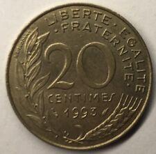 F.156 Monnaie Française 20 Centimes Marianne 1993 Achat Unitaire