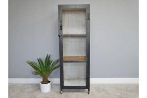 Mesh Door Metal Wheeled Storage Cabinet with Wood Shelving
