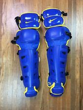 "Nike Baseball Catchers Gear Leg Shin Guards Mens 17"" Blue Yellow Leg Protector"