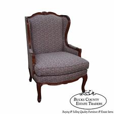 Solid Mahogany French Louis XV Style Wing Chair Bergere by Hickory Chair