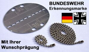 """Mit IHRER Wunschprägung: Deutsche Bundeswehr BUND Erkennungsmarke """"GE"""" - DogTag"""