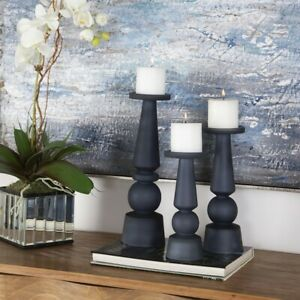 Uttermost Cassiopeia Glass Candleholders, Set of 3, Blue - 17779