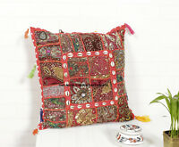 """Big  27/"""" x 27 inch 70cm Yellow bead sequin Patchwork Indian Cushion Cover"""
