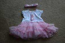 Little Me White/Pink Bunny Tutu Popovers Dress with Headband Size 9 Month