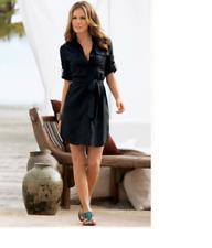 Gorgeous Boston Proper Sash-tie Black Linen Shirt Dress, size 4, NEW