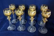 Antique Crystal and Gold Goblet -  Set of 8 goblets