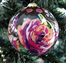 Vera Bradley English Rose Glass Ornament in the Box Hand Painted 2012 Retired