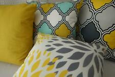 Mix & Match Yellow Grey Teal Double Sided Suedine Suede Look Cushion Cover 45