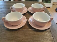Set of 4 Shell Pink Sterling China Coffee Cups & Saucers  - Restaurant Ware