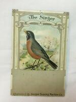 *Vintage SINGER SEWING MACHINE Advertising Calendar Bird Card ROBIN  *NO PAD*