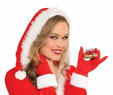 Christmas Gloves Miss Santa Adult Costume Accessory, Red/White